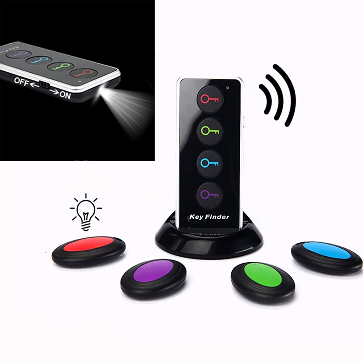 Abnaok Wireless Key Finder, Esky Wireless RF Item Locator Item Tracker Support Remote Control, with LED Flashlight and Base Support, Remote Control with 4 Receivers