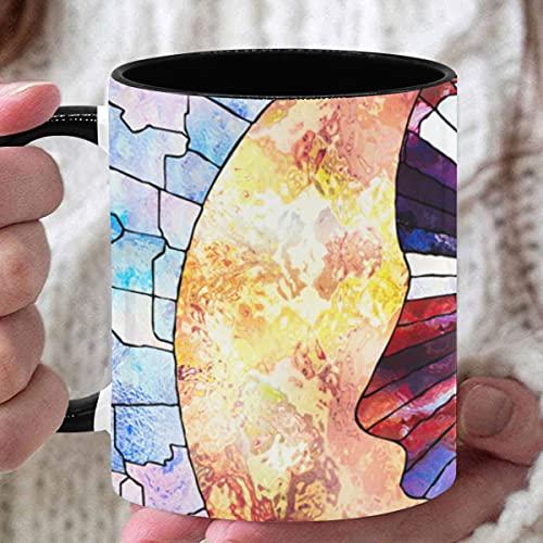 Taza de 11 oz Tazas de psicología coloridas creativas de moda para café Tazas personalizadas utilizadas para café Té caliente Beber Interior negro con asa