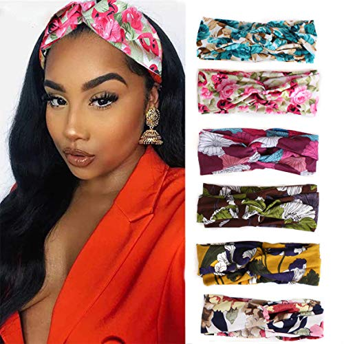 Kachanaa 6 Pack Flower Criss Cross Elastic Headband Wig for Women Stretch Headband Fashion Bandana Headband for Women for Yoga Outdoor Sport Accessories(S3)