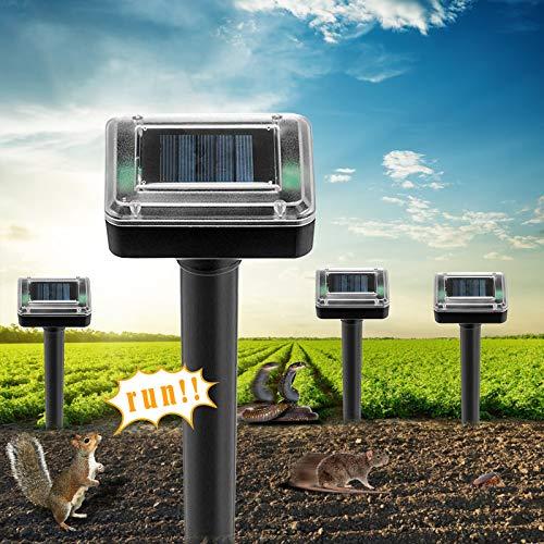 4 PackUltrasonic Solar Mole Repeller, Pest Control Waterproof Solar Mole Deterrent & Repeller, Vole, Gopher, Snake for Outdoor Lawn Garden Yards