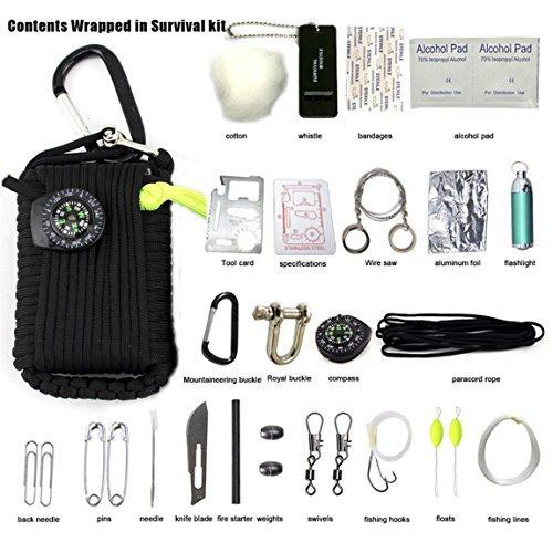 Mindbreaker Wilderness sopravvivenza kit-multifunction sopravvivenza Outdoor Gear kit-outdoor Ultimate Survival Kit Kit di emergenza, pronto soccorso, Fire Starter, fischietto di emergenza, e altro ancora.(30pezzi)