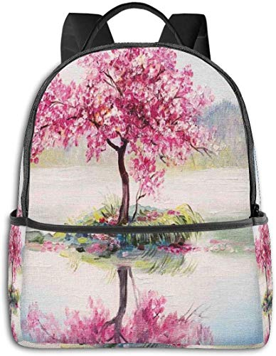 Immagine di ciliegio giapponese in fiore Sakura sul lago Morbido lavoro di cultura romantica, escursionismo casual Travel Daypack 12 '5' 14,5 'LWH