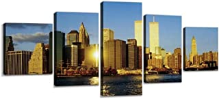 XEPPO Twin Towers in New York Destroyed citys and Pictures Prints Canvas Wall Art Abstract Landscape Photography Paintings for Modern Home Decor 5Pcs Modern Stretched and Framed