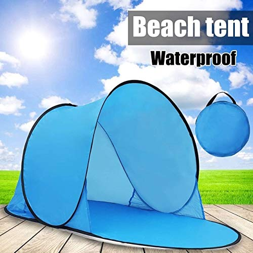 Mdsfe Outdoor Portable Tent UV Beach Camping Tent Pop Up Open Beach Mat Folding Automatic for 1-2 Person-Blue,A2