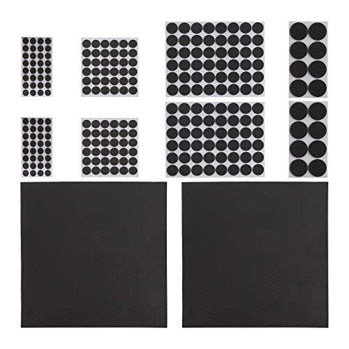 Relaxdays Möbelstopper 250er Pack, rutschfest, Aufkleber, zuschneidbare Platten, runde Eva-Pads, versch. Größen, schwarz