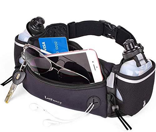 LotFancy Gürteltasche Trinkgürtel Sport Laufgürtel mit 2 Trinkflasche (BPA Frei) Bauchtasche, Komfortabel und Atmungsaktiv für Marathon Joggen Radfahren Campen Reisen Outdoor (Schwarz)