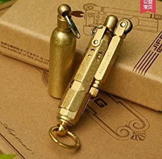 Handmade WWI WWII German Vintage Brass/Copper Trench lighter and Solid Brass fuel bottle