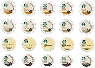 20 Count - Variety Starbucks Flavored Coffee K-Cups for Keurig K Cup Brewers and 2.0 Brewers - (4 Flavors: Vanilla, Caramel, Mocha and Creme Brulee)