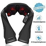 Massagegerät Schulter Nackenmassagegerät mit Wärme für eine Shiatsu-Rückenmassage, 32 Entspannungsknoten ändern ihre Richtungen mit 3 Geschwindigkeiten, Löst...