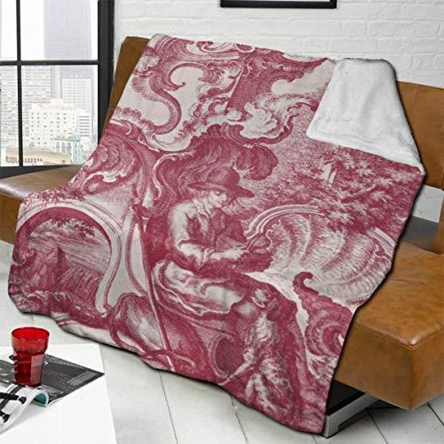 Dearl - Manta de forro polar con diseño de sherpa, color rojo y antiguo, diseño antiguo, color rojo