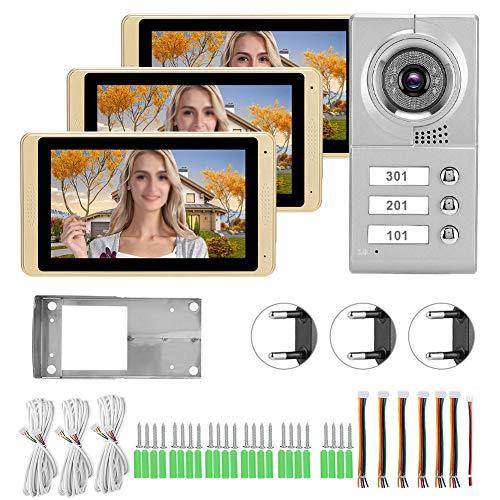 AMONIDA 【Venta del día de la Madre】 Portero automático, conexión de Cuatro Cables 3 monitores WiFi Portero automático, Apartamentos para hoteles(European regulations)