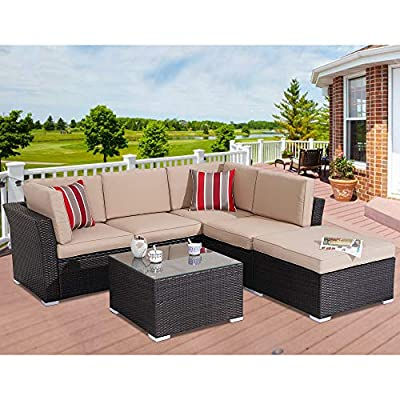 Stamo Outdoor Sofa 6-Piece Patio Furniture Set w/Glass Coffee Table, All-Weather Sectional PE Rattan Wicker Chair Patio Conversation Furniture Set, Removable Washable Coffee Cushions