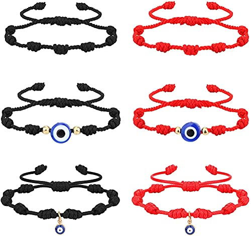 Milacolato 6Pcs Evil Eye 7 Pulseras de Nudo para protección Buena Suerte Kabbalah Pulseras de Hilo Rojo Hilo Hamsa Amuleto Pulsera para Mujeres Hombres