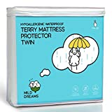 Milddreams Waterproof Mattress Protector Cover Twin Size (39x75+14 inch Deep) - Plastic Bed Cover - Waterproof Fitted Sheet Cotton Terry - Vinyl Free - Hypoallergenic