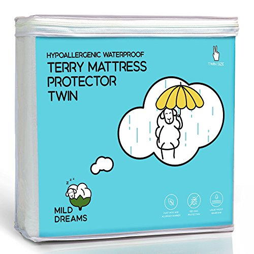 Waterproof Mattress Protector Cover Twin Size (39x75+ Stretches to14 inch Deep Pocket) - Plastic Bed Cover - Waterproof Fitted Sheet Cotton Terry
