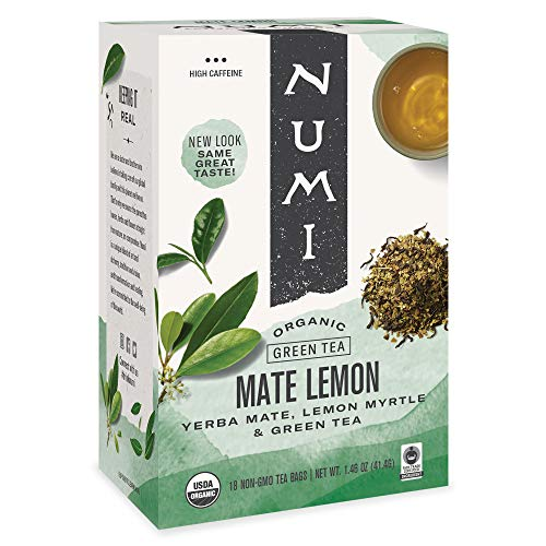 Numi Organic Tea Mate Lemon, 18 Count (Pack of 1) Box of Tea Bags, Yerba Mate Green Tea Blend (Packaging May Vary)