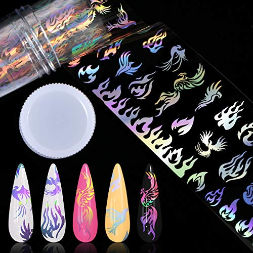Nail Foil Transfer Sticker, KISSBUTY Holographic Flame Nail Art Stickers Tips Wraps Foil Transfer Adhesive Glitters Acrylic DIY Nail Decoration Flame Desigh