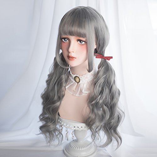 Alice Garden Wigs Long Wavy Wig Bangs - Natural Synthetic Hair Lolita Wig with Wig Cap for Women Cosplay and Daily Wear (Grey)