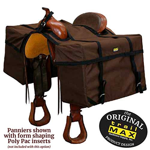 TrailMax 'Over-The-Saddle Pack Pannier Bags, Fits Over Most Western | Endurance Riding Saddles, Ideal for Hunting Camp, Camping with Your Horse or The Beginning Packer, Easy to Use, Durable - Brown