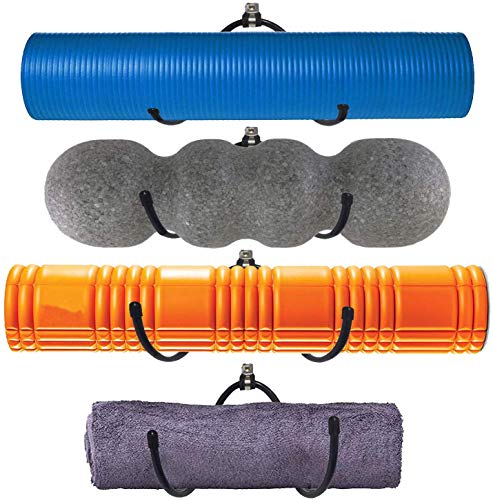 Yoga Mat Storage Foam Rollers Rack Rolled Bath Towels Holder Shelf - Solid Quality Wall Mountable for Bathroom Yoga room Yoga Massage Muscle Roller Exercise Mat, Adjustable Size,Up to 20Lbs - (4 Pack)