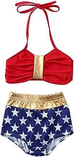 Toddler Baby Girls American USA Flag Stars Print Halter Two-Pieces Bikini Beach Party Swimsuit Bathing