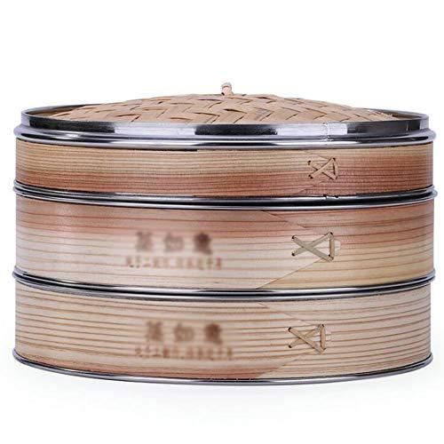 ZHIRCEKE Bambusmaterial Korb Steamer Chinesische Dessert Herd Set gedämpft Klöße Geeignet für gedämpfte Brötchen Dim Sum,XL