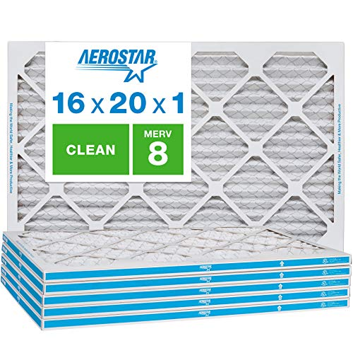Aerostar Clean House 16x20x1 MERV 8 Pleated Air Filter, Made in the USA, 6-Pack,White