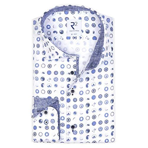 R2 Amsterdam Herren Business Hemd mit Alloverprint, Größe:44, Farbe:Blue - 14