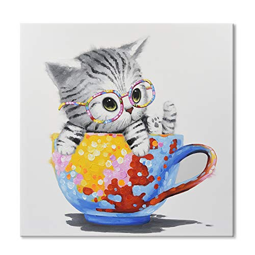 SEVEN WALL ARTS - Cute Cat Painting Animal Colorful Cup Kitty Art Hand-Painted Pet Picture Framed Artwork for Playroom Home Office Kids Room Decor 24 x 24 Inch