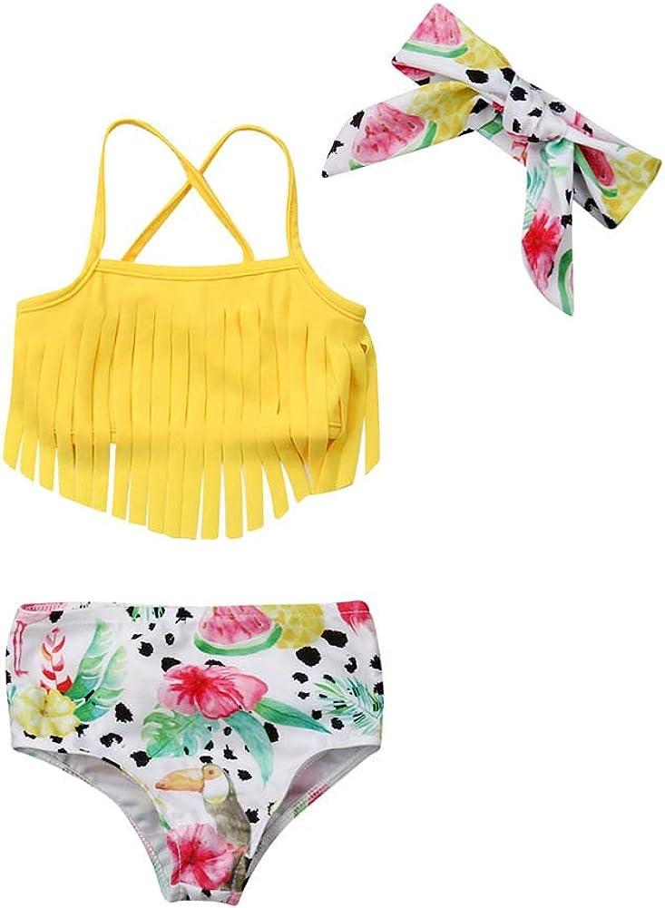 Toddler Kids Baby Girl Swimwear Cute Dinosaur Print Tassel Top Bikini Set Summer Swimsuit Beachwear with Headband: Clothing, Shoes & Jewelry