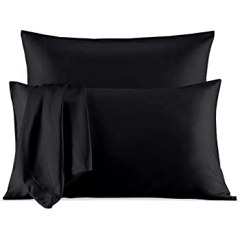 SLEEP ZONE Satin Pillowcases Temperature Regulation Set of 2 for Hair and Skin Standard/Queen 20x30 Pillow Cover (Queen, Black)