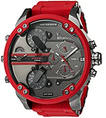Case size: 57mm; Band size: 28mm; quartz movement with 3-hand analog display, date window, and 3 chronograph subdials; mineral crystal face Gunmetal plated stainless steel case with red bezel and screw accents; gunmetal-tone textured dial with red ac...