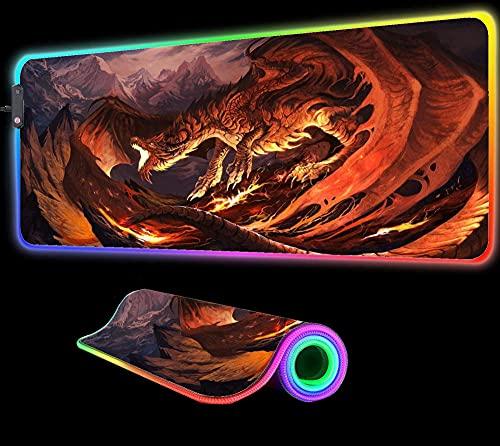 World of Warcraft Fire Dragon Alfombrilla de Ratón RGB Gaming Pc Gamer Ordenador Grande Retroiluminado XXL Alfombra Teclado Notebook Escritorio Estera de Regalo, 35,43 Pulgadas X 15,74 Pulgadas