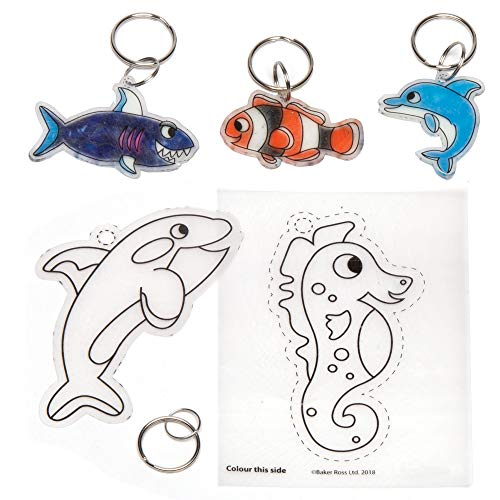 Baker Ross- Llaveros de papel termorretráctil de animales marinos (Pack de 8)-...