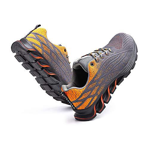 [Hitmars] 安全靴 メンズ あんぜん靴 レディース 作業靴 ふみぬき防止 スニ一カ一 軽量 むれない 軽業 鉄芯入り セーフティーシューズ おしゃれ 耐油性 耐滑 鋼先芯 工事現場 オレンジ 24�p