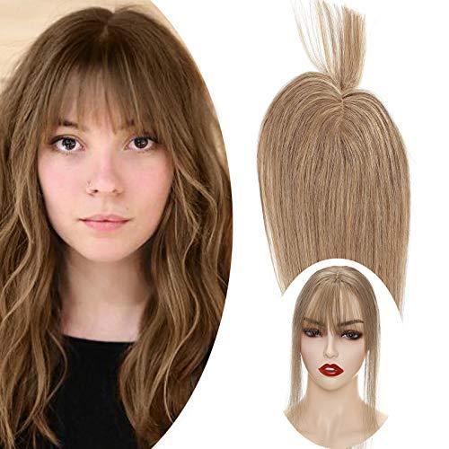 """Haarteil Topper Remy Echthaar Clip in Extensions Toupet(Dichte:110%)Haarverlängerung Pony Toupee Frauen mit 2 Clips Honigblond#27 10""""(25cm)"""