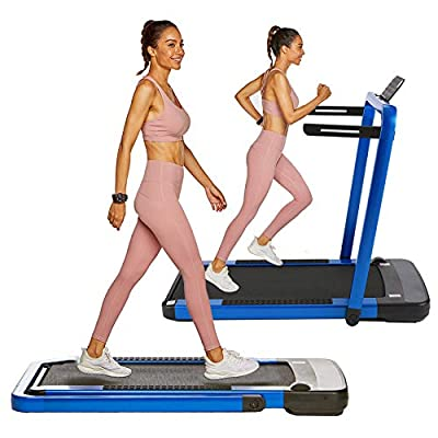 OppsDecor Under Desk Treadmill 2in1 Pad Treadmill Folding Electric Treadmill Remote Control Walking Running Machine with APP for Home Office Workout Indoor Exercise Machine (Blue)