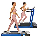 OppsDecor Under Desk Treadmill 2in1 Pad Treadmill Folding Electric Treadmill Remote Control Walking Running Machine with APP for Home Office Workout Indoor Exercise Machine (Teal)