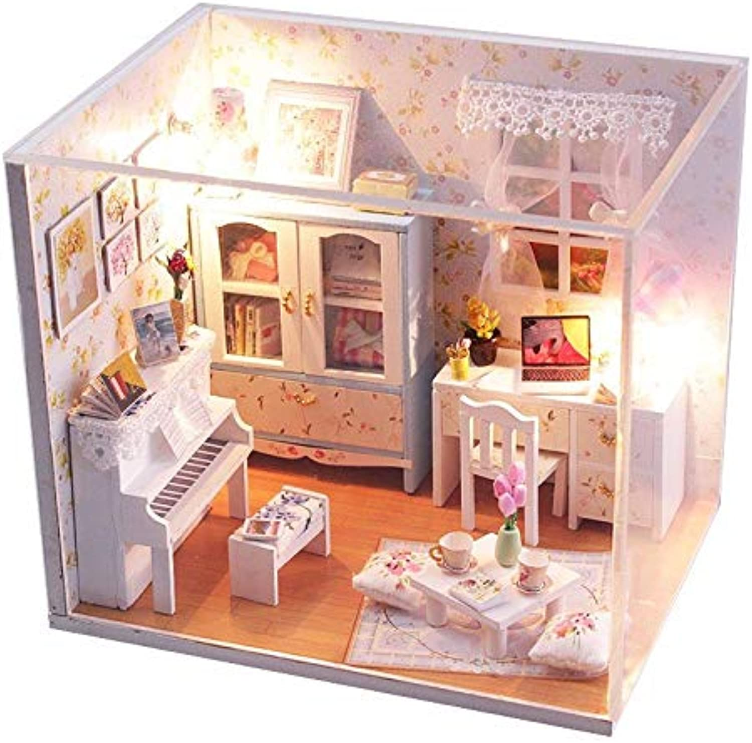 Global Brands Online Hoomeda DIY Wood Dollhouse Miniature With LED+Furniture+Cover