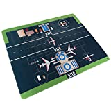 Baby Play Mat for Kids, Microfiber Flannel Fleece & Foam Mat with Non Slip Back and Airport Scene for Toddlers, Boys and Girls by Hey! Play!