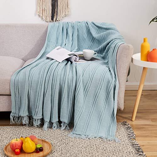 MYLUNE HOME Gestrickte Fransenüberwurf, Boho-Stil, stilvoll, leicht, weich, gemütlich, dekorative Decke, 152,4 x 190,5 cm, für Bett, Sofa, Couch, Bauernhaus, für alle Jahreszeiten geeignet (blau)