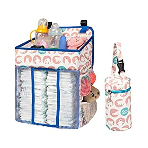 Selbor Baby Nursery Organizer and Diaper Caddy, Hanging Diaper Stacker Storage for Changing Table, Crib, Playard or Wall – Baby Shower Gifts for Newborn Boys Girls (Polar Bear, Bottle Cooler Included)