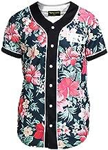 PIZOFF Short Sleeve Arc Bottom 3D Colorful Floral Print Baseball Jersey Shirt Y1724-16-M