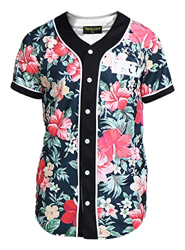 PIZOFF Short Sleeve Arc Bottom 3D Colorful Floral Print Baseball Jersey Shirt Y1724-16-L