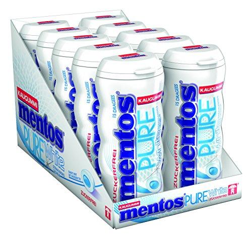 Mentos Kaugummi Pure White Sweet Mint I 10 Pocketdosen Kaugummi-Dragees I Zuckerfrei mit Minze und Extrakten aus weißem Tee