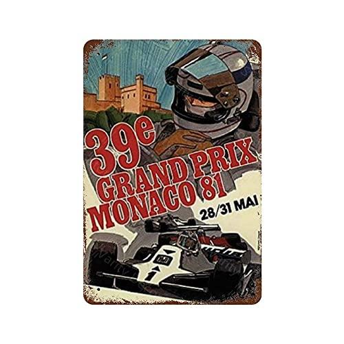 Grand Prix Mónaco - Placa de metal para decoración de pared, diseño retro de hierro, para hombre, cuevas, cafés, bar, pub, cerveza, decoración de pared, 20 x 30 cm