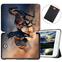 MAITTAO Galaxy Tab S2 8.0 Case 2015 Release SM-T710 T715 T713, Slim-Shell Stand Folio Case Cover For Samsung Galaxy Tab S2 / S2 Nook 8.0 Inch Tablet Sleeve Bag 2 in 1 Bundle, Akhal-Teke Horse 7