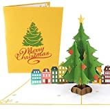 PopLife Cards Copo de nieve de invierno 3d tarjeta de felicitación emergente - podadores de árboles, crafters, scrapbookers - pliegues planos para enviar por correo - fiesta de vacaciones, elefante
