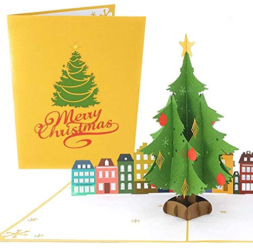 PopLife Christmas Tree Pop Up Card - 3D Holiday Greeting, Blank Merry Christmas, Stocking Present for Friends and Family - for Mom, for Grandma, for Dad, for Teacher, for Daughter