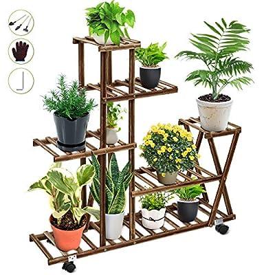 Wood Plant Stand Indoor Outdoor, Plant Display Multi Tier Flower Shelves Stands, Garden Plant Shelf Rack Holder in Corner Living Room Balcony Patio Yard with 3 Free Gardening Tools